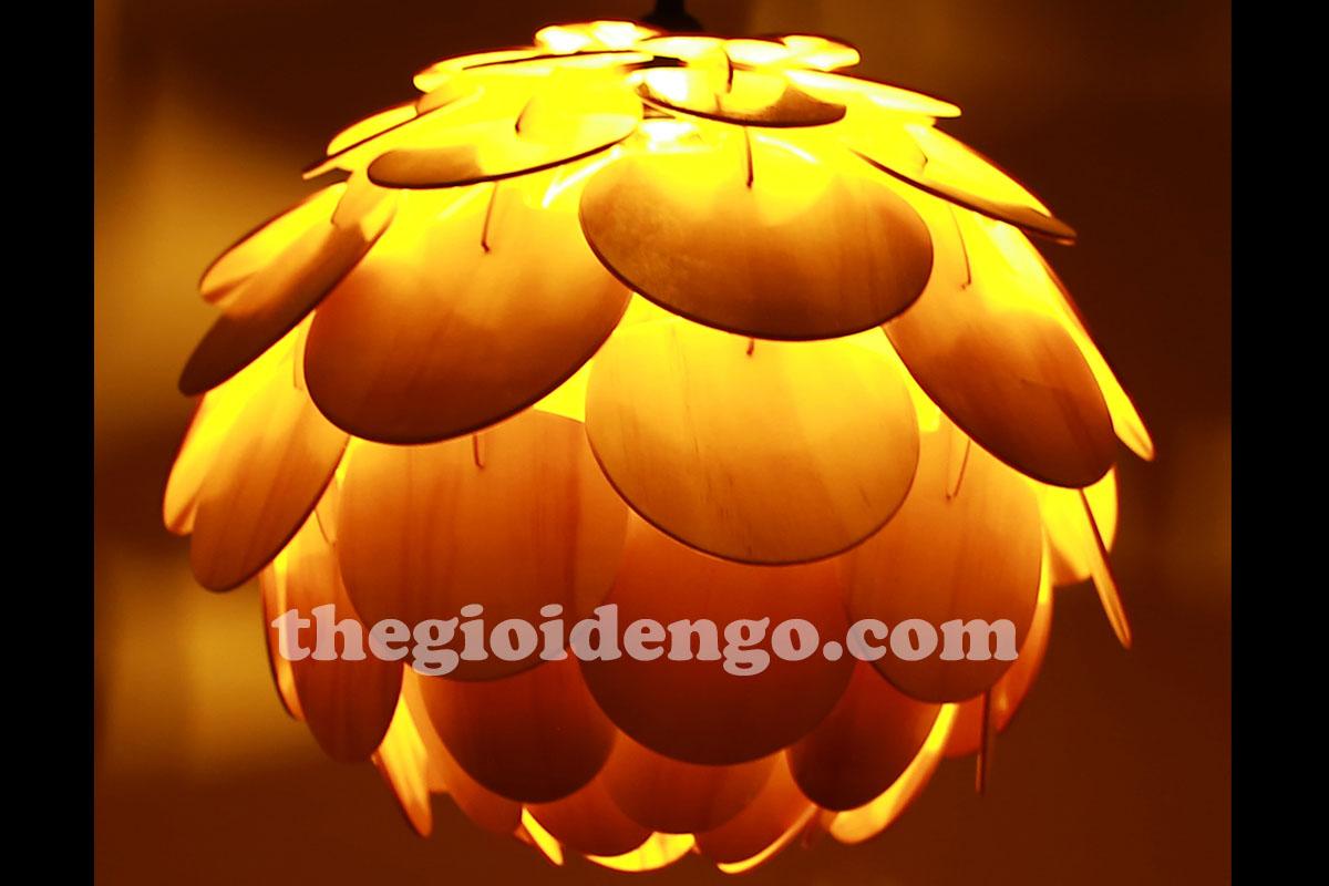 Thế Giới Đèn Gỗ - Đèn gỗ trang trí Atiso cánh tròn