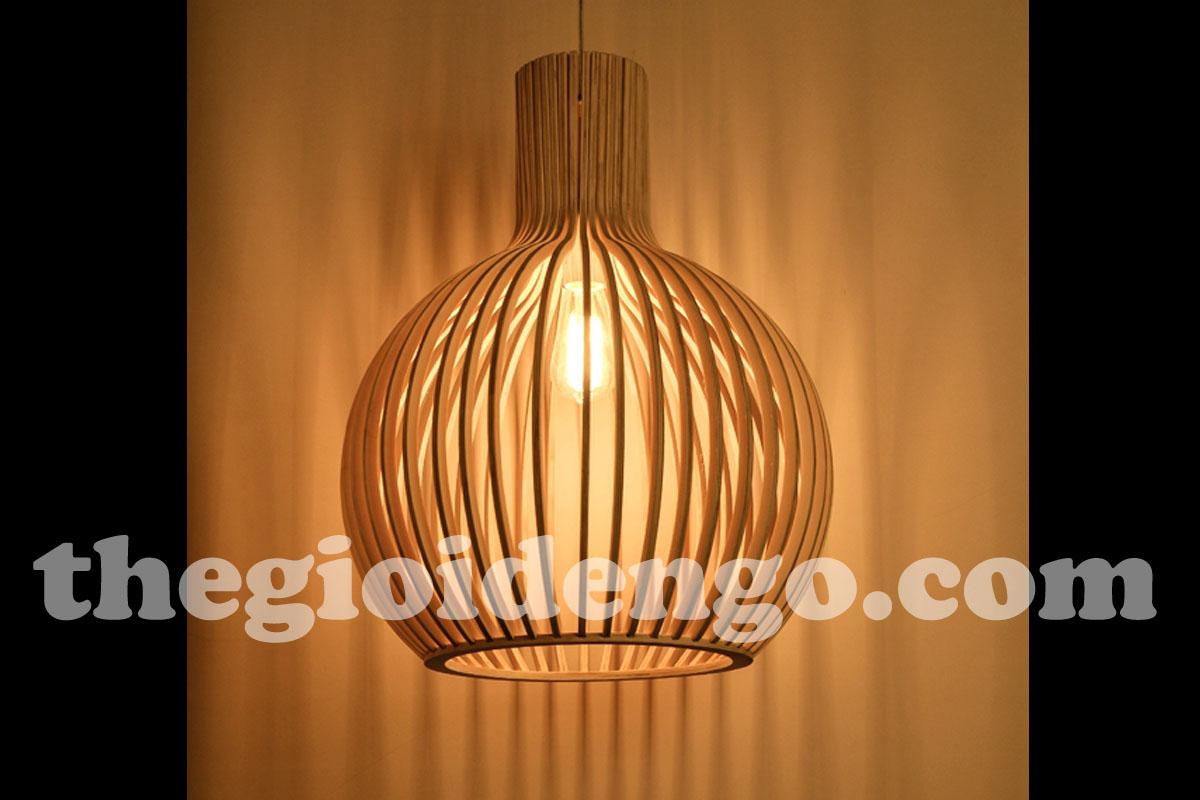 Thế Giới Đèn Gỗ - Đèn gỗ trang trí bầu tròn lớn