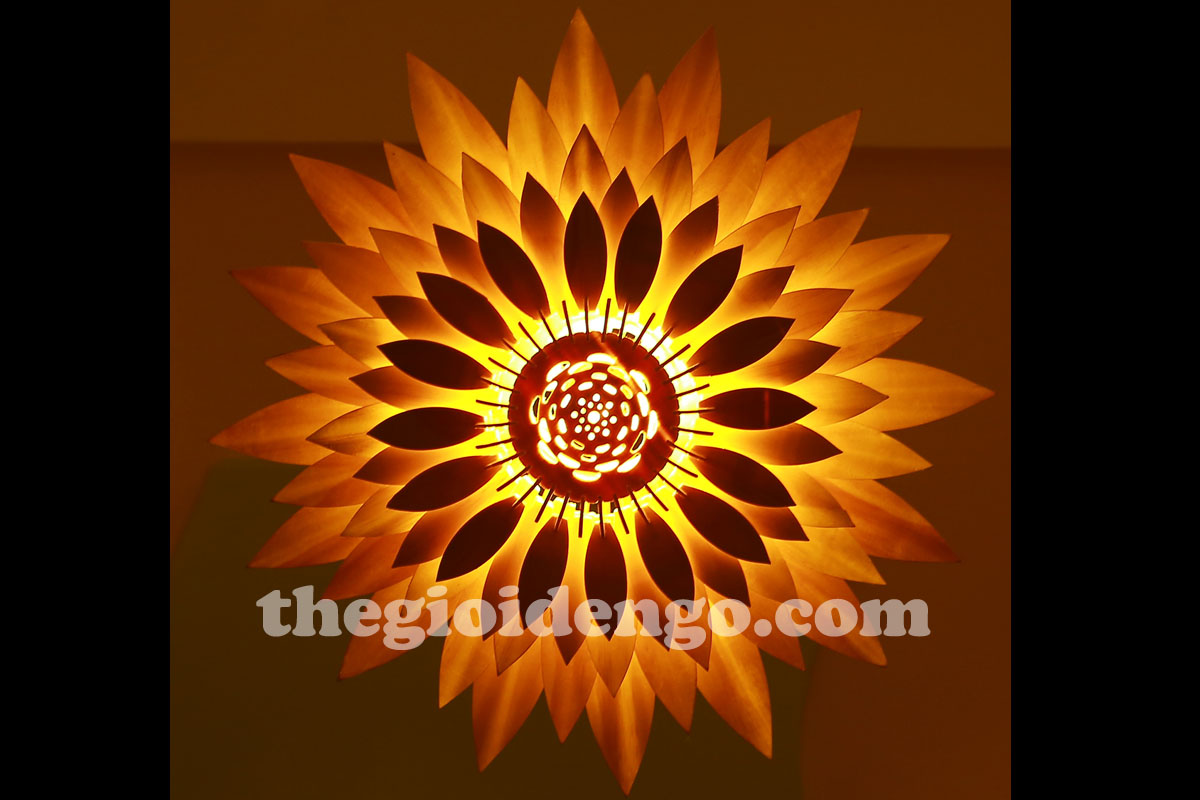Thế Giới Đèn Gỗ - Đèn gỗ trang trí hoa hướng dương