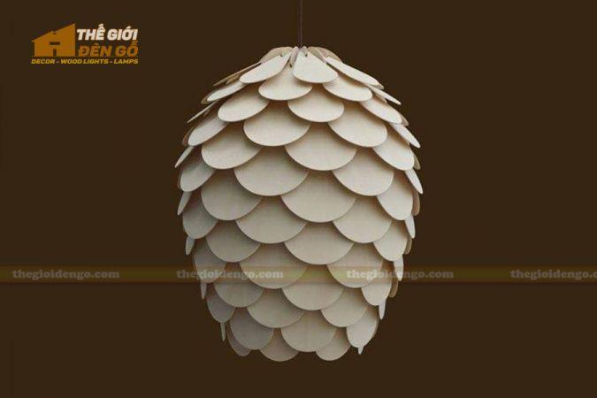 Thế giới đèn gỗ - Đèn gỗ trang trí quả thông cánh tròn 2