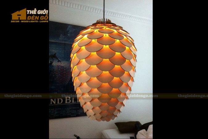 Thế giới đèn gỗ - Đèn gỗ trang trí quả thông cánh tròn 5