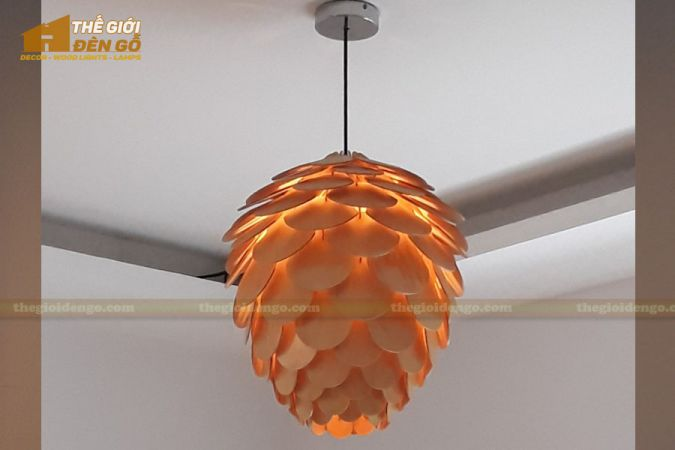 Thế giới đèn gỗ - Đèn gỗ trang trí quả thông cánh tròn 6