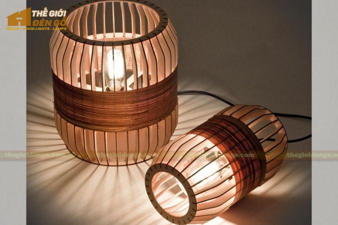 Thế giới đèn gỗ - Đèn gỗ trang trí trống cơm 1