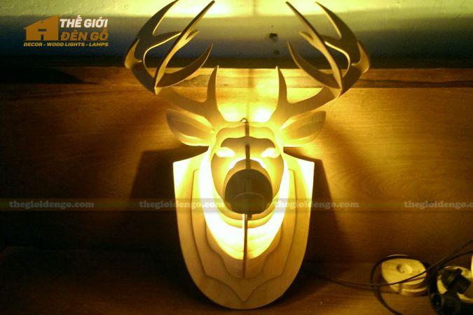 Thế Giới Đèn Gỗ - Đèn gỗ trang trí đầu hươu 2