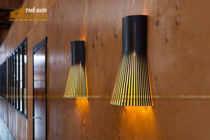 Thế Giới Đèn Gỗ - Đèn gỗ trang trí treo tường DGW001-1