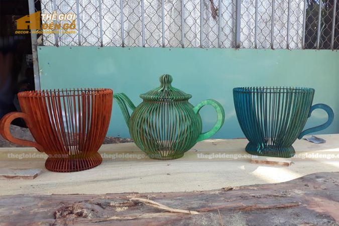 Thế Giới Đèn Gỗ - Đèn gỗ trang trí bình trà - 2