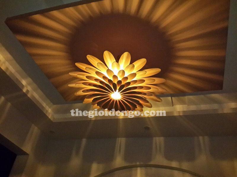 Thế Giới Đèn Gỗ - Đèn trang trí gỗ thả trần hoa cúc