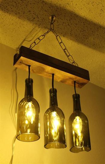 Thế Giới Đèn Gỗ - Cách làm đèn handmade bằng chai thủy tinh 9