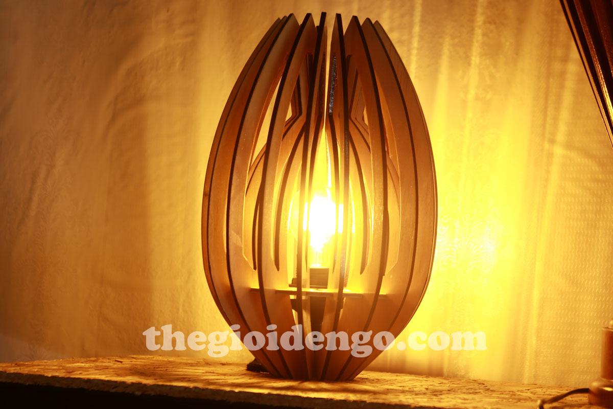 Thế Giới Đèn Gỗ - Đèn gỗ trang trí búp sen