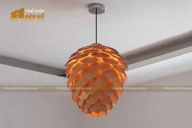 Thế giới đèn gỗ - Đèn gỗ trang trí quả thông cánh tròn