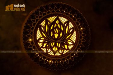 Thế Giới Đèn Gỗ - Đèn gỗ trang trí Mandala hoa sen
