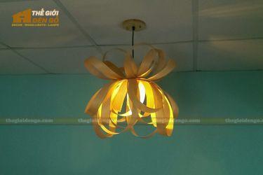 Thế giới đèn gỗ - Đèn gỗ trang trí veneer xoắn DGVN001