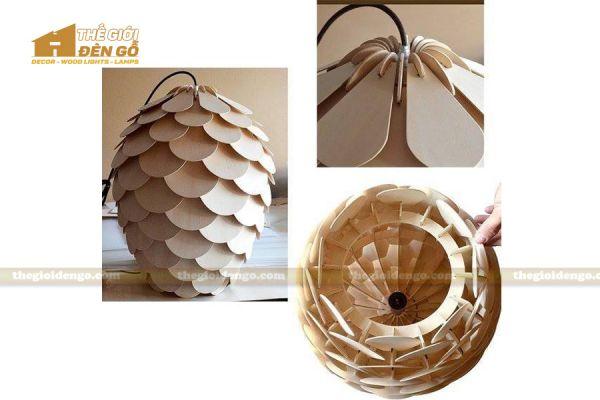Thế giới đèn gỗ - Đèn gỗ trang trí quả thông cánh tròn 4