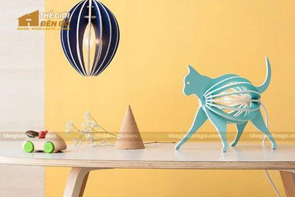 Thế Giới Đèn Gỗ - Đèn gỗ trang trí con mèo 2
