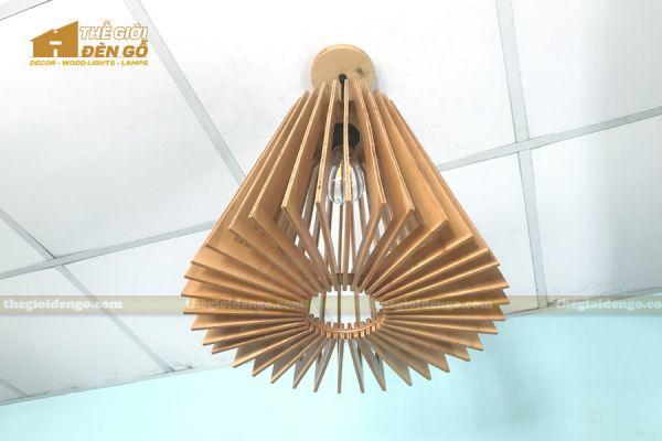 Thế giới đèn gỗ - Đèn gỗ trang trí nón trụ 10