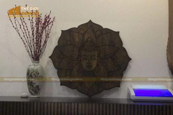 Thế Giới Đèn Gỗ - Tranh gỗ Đức Phật hoa sen 2