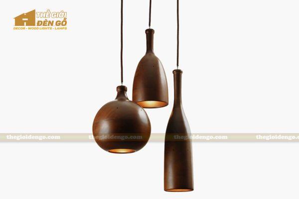 Thế Giới Đèn Gỗ - Đèn gỗ trang trí tiện nguyên khối DGT003-3