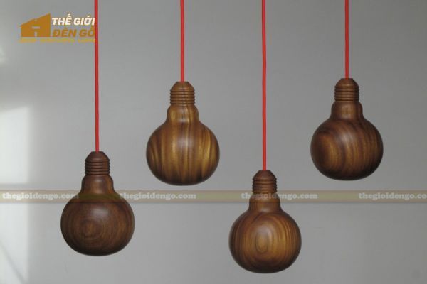 Thế Giới Đèn Gỗ - Đèn gỗ trang trí tiện nguyên khối DGT004-1