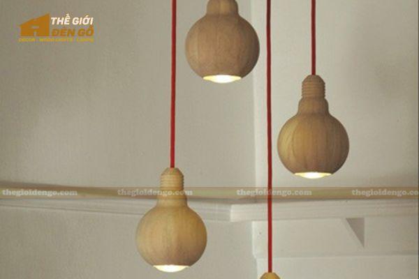 Thế Giới Đèn Gỗ - Đèn gỗ trang trí tiện nguyên khối DGT004-4