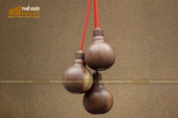 Thế Giới Đèn Gỗ - Đèn gỗ trang trí tiện nguyên khối DGT004