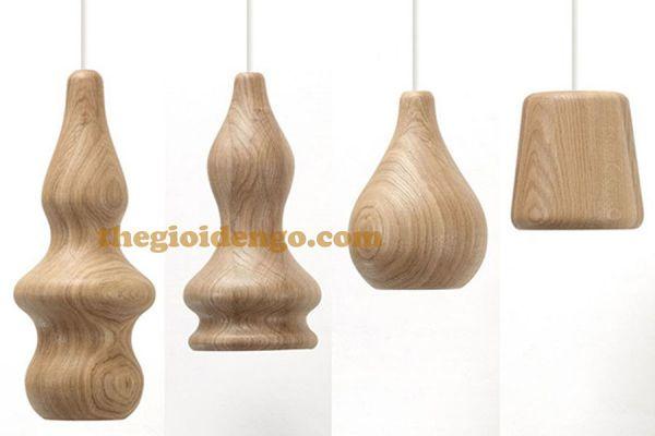Thế Giới Đèn Gỗ - Đèn gỗ trang trí tiện nguyên khối DGT005-5