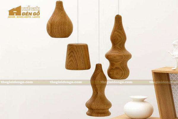 Thế Giới Đèn Gỗ - Đèn gỗ trang trí tiện nguyên khối DGT005-6
