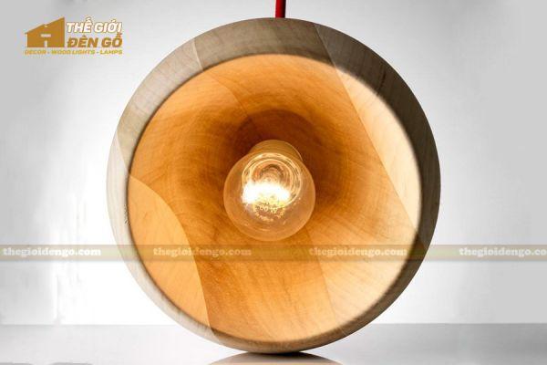Thế Giới Đèn Gỗ - Đèn gỗ trang trí tiện nguyên khối DGT006-2