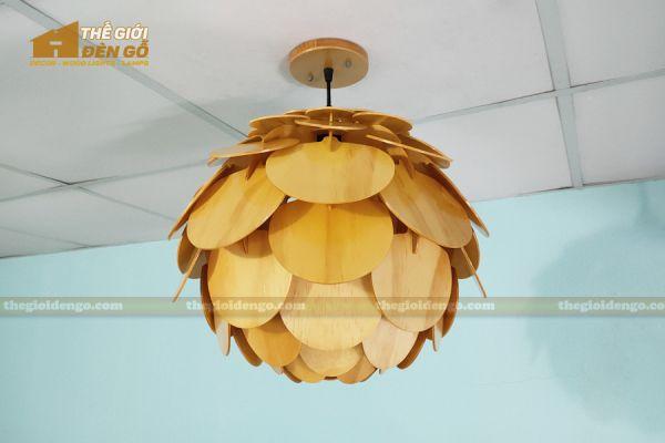 Thế Giới Đèn Gỗ - Đèn gỗ trang trí Atiso cánh tròn 16