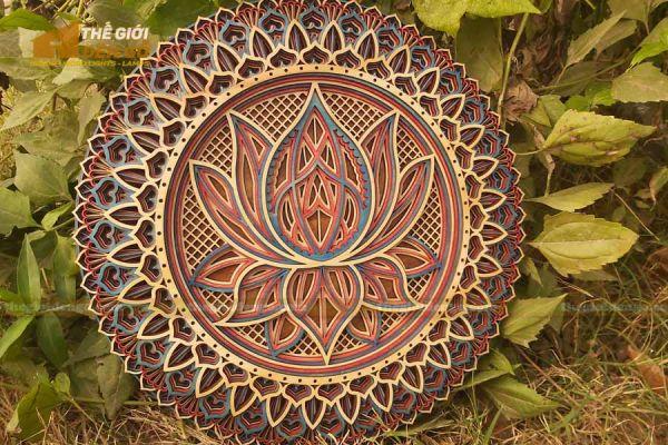 Thế Giới Đèn Gỗ - Đèn gỗ trang trí Mandala hoa sen 1