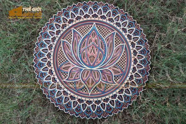 Thế Giới Đèn Gỗ - Đèn gỗ trang trí Mandala hoa sen 2