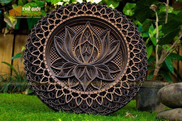 Thế Giới Đèn Gỗ - Đèn gỗ trang trí Mandala hoa sen 3