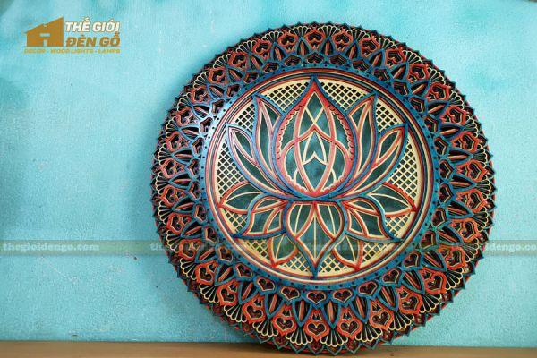 Thế Giới Đèn Gỗ - Đèn gỗ trang trí Mandala hoa sen 4