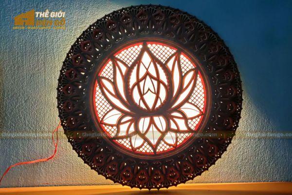 Thế Giới Đèn Gỗ - Đèn gỗ trang trí Mandala hoa sen 5