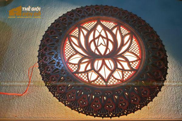 Thế Giới Đèn Gỗ - Đèn gỗ trang trí Mandala hoa sen 6