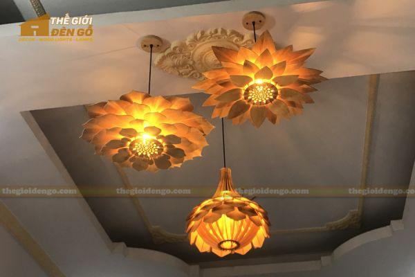 Thế Giới Đèn Gỗ - Đèn gỗ trang trí sen đá 10