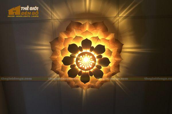 Thế Giới Đèn Gỗ - Đèn gỗ trang trí sen đá 4