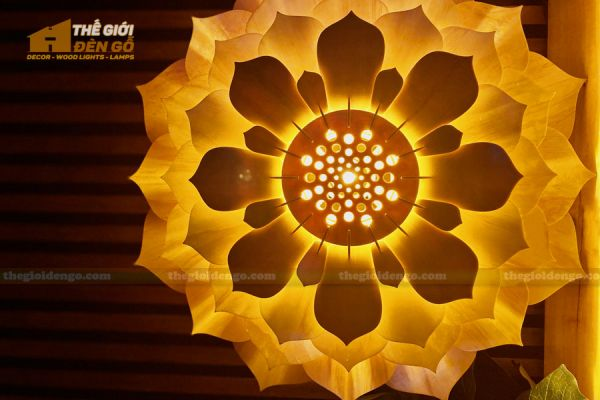 Thế Giới Đèn Gỗ - Đèn gỗ trang trí sen đá 6
