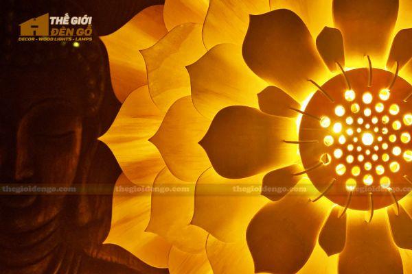 Thế Giới Đèn Gỗ - Đèn gỗ trang trí sen đá 9