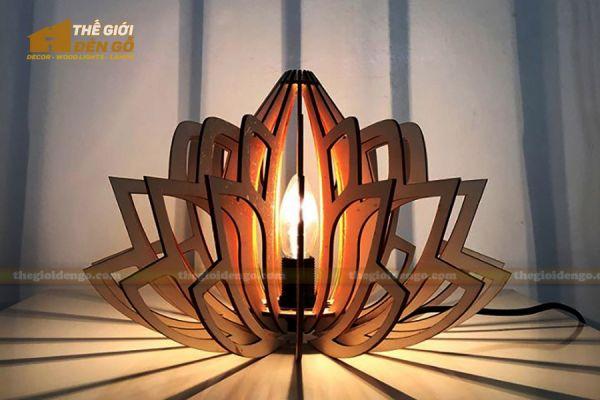Thế Giới Đèn Gỗ - Đèn gỗ trang trí đài sen