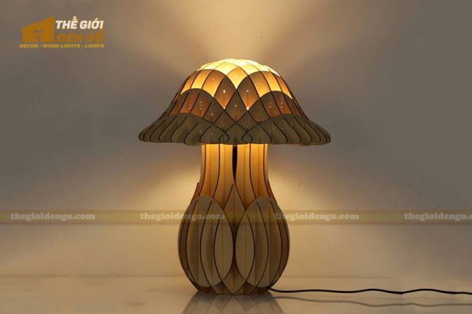 Thế Giới Đèn Gỗ - Đèn gỗ trang trí để bàn cây nấm