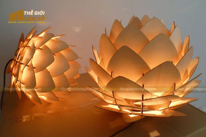 Thế Giới Đèn Gỗ - Đèn gỗ trang trí Atiso cánh nhọn 2