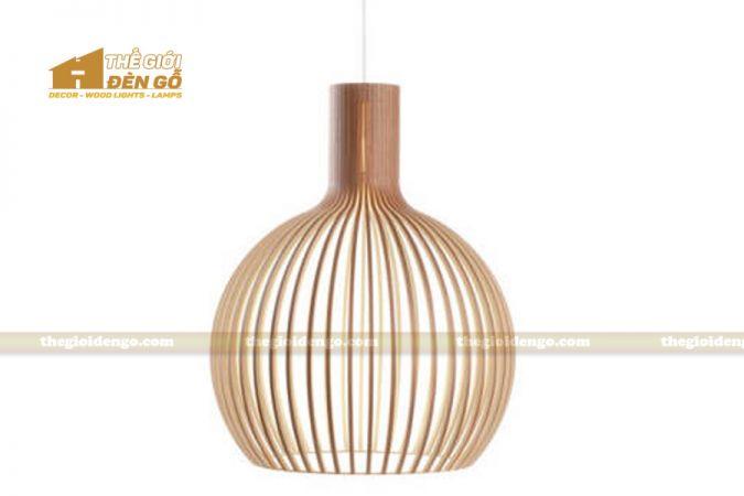 Thế Giới Đèn Gỗ - Đèn gỗ trang trí bầu tròn lớn 1