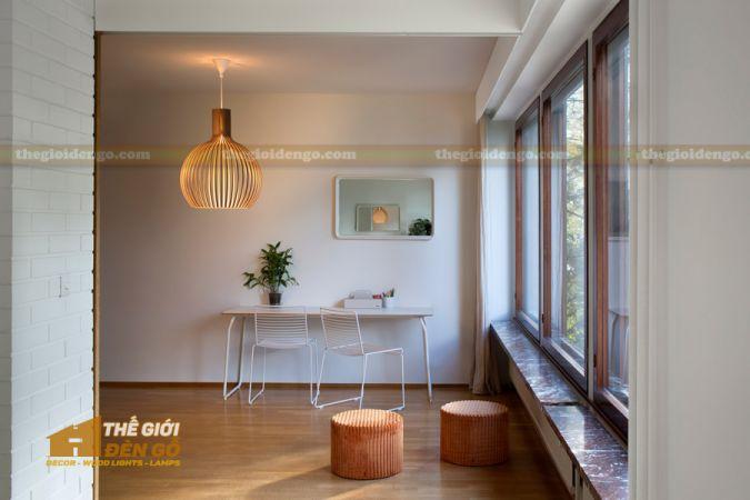 Thế Giới Đèn Gỗ - Đèn gỗ trang trí bầu tròn lớn 2