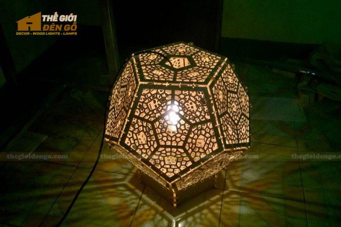 Thế giới đèn gỗ - Đèn gỗ trang trí lục giác khối
