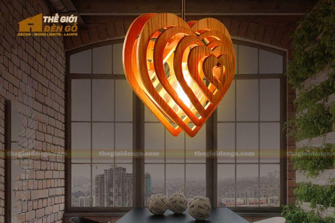 Thế giới đèn gỗ - Đèn gỗ trang trí trái tim 1