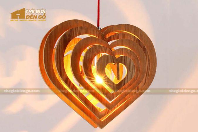 Thế giới đèn gỗ - Đèn gỗ trang trí trái tim