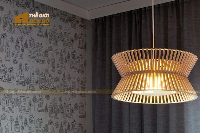 Thế giới đèn gỗ - Đèn gỗ trang trí trống đồng 2