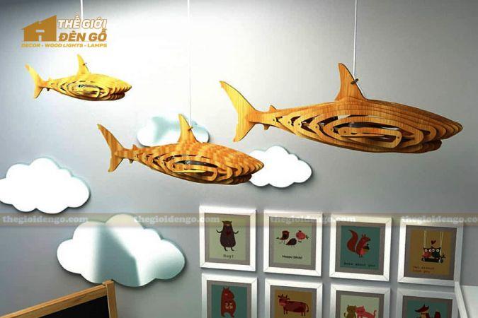 Thế Giới Đèn Gỗ - Đèn gỗ trang trí cá mập 5