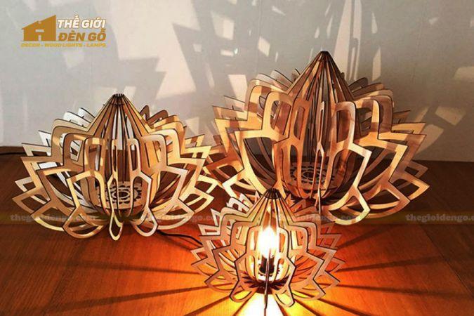 Thế Giới Đèn Gỗ - Đèn gỗ trang trí sen đá 2